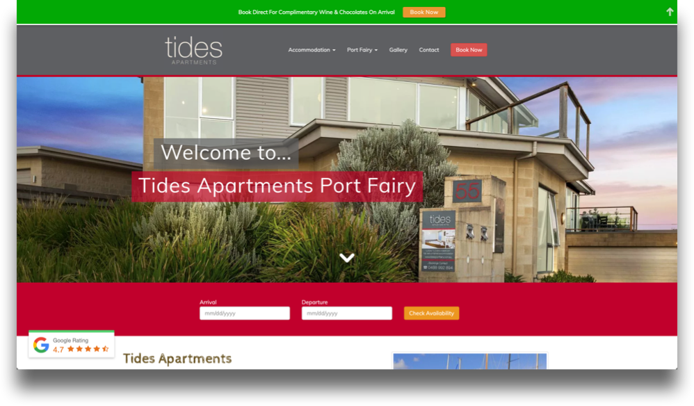 Holiday Apartment Website Design (Online Tourism)